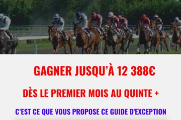 Quinté+ Gain possible 12 388 euros en 31 jours